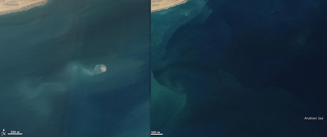 Immagine a sinistra mostra un' isola che è apparsa il 26 novembre 2010, Baluchistan in Pakistan. Immagine a destra mostra la stessa posizione circa un anno prima