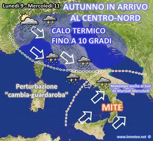 Previsioni meteo: crollo termico e maltempo in arrivo, si piomba in Autunno!