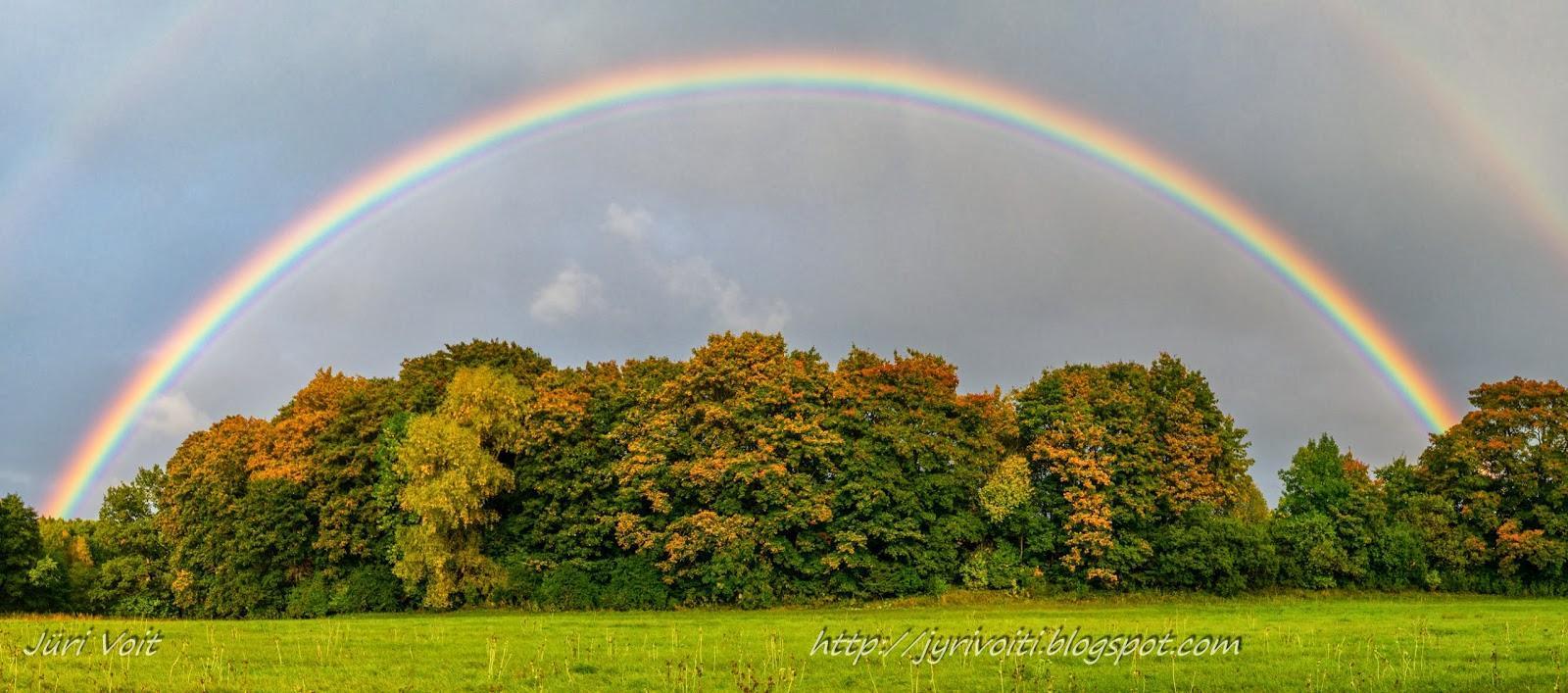 Doppio arcobaleno e le foglie d'autunno. Foto scattata in Estonia.