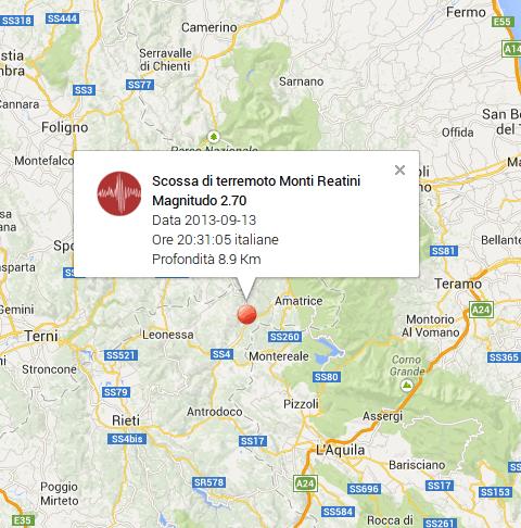 Terremoto Lazio-Umbria oggi 13 Settembre 2013: