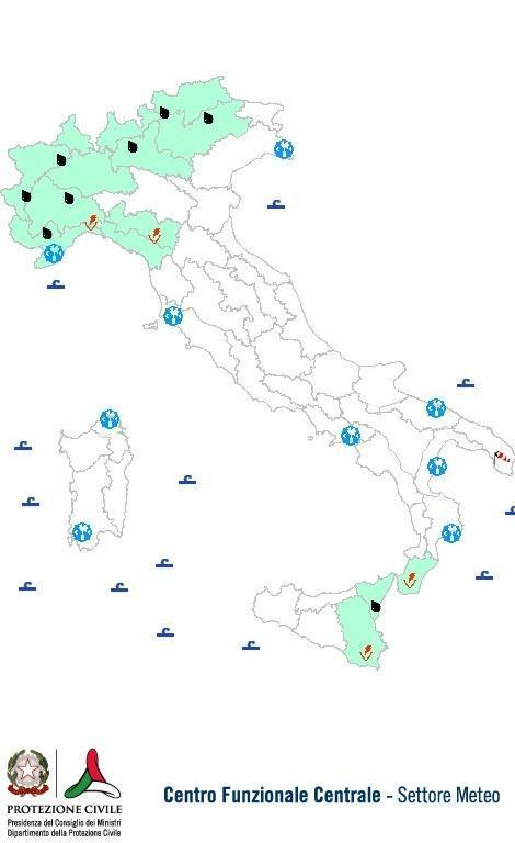 Previsioni meteo 3 Ottobre 2013 Italia: Bollettino della Protezione Civile. Fonte: www.protezionecivile.gov.it