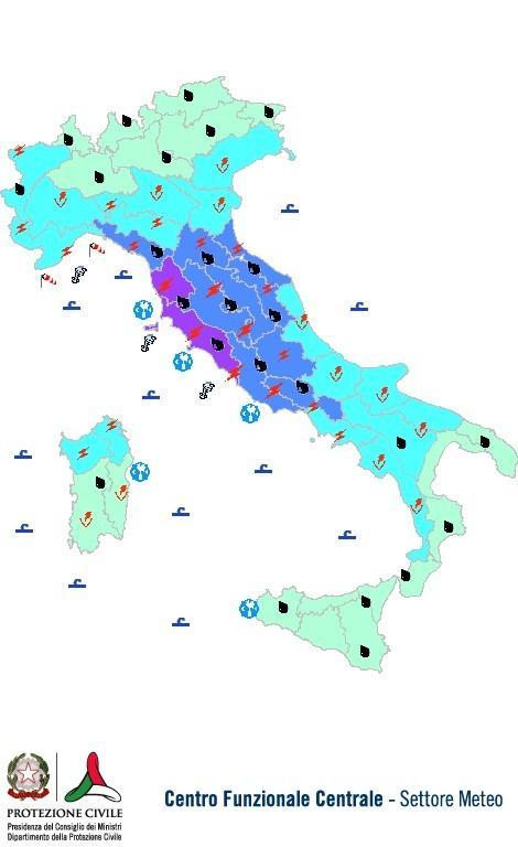 Previsioni meteo 5 Ottobre 2013 Italia: Bollettino della Protezione Civile. Fonte: www.protezionecivile.gov.it