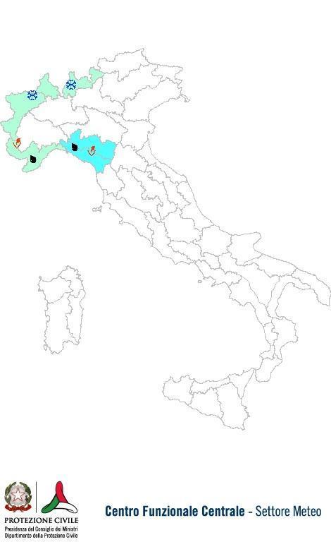 Previsioni meteo 13 Ottobre 2013 Italia: Bollettino della Protezione Civile. Fonte: www.protezionecivile.gov.it