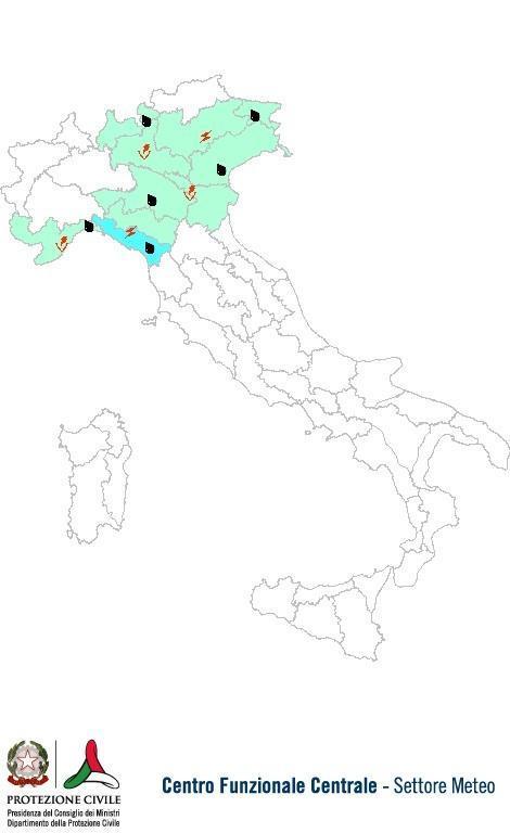 Previsioni meteo 14 Ottobre 2013 Italia: Bollettino della Protezione Civile. Fonte: www.protezionecivile.gov.it
