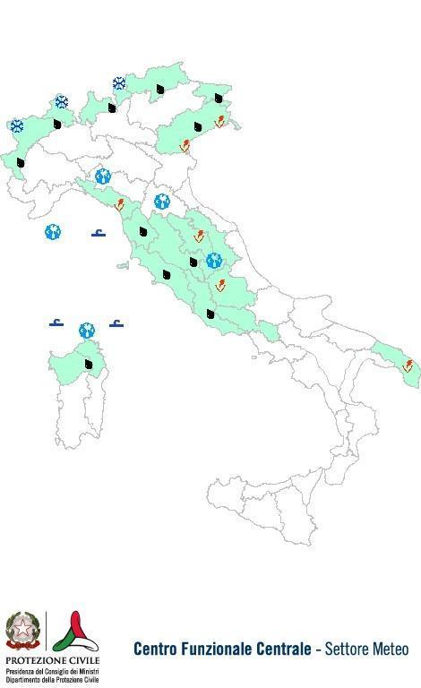 Previsioni meteo 15 Ottobre 2013 Italia: Bollettino della Protezione Civile. Fonte: www.protezionecivile.gov.it
