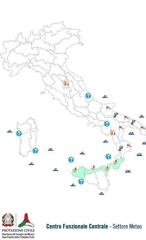 Previsioni meteo 17 Ottobre 2013 Italia: Bollettino della Protezione Civile. Fonte: www.protezionecivile.gov.it