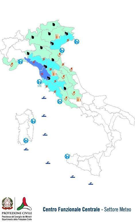 Previsioni meteo 21 Ottobre 2013 Italia: Bollettino della Protezione Civile. Fonte: www.protezionecivile.gov.it