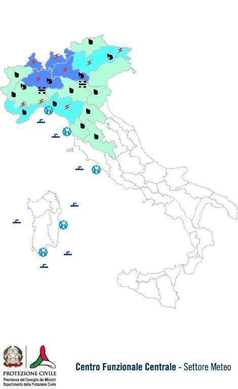 Previsioni meteo 23 Ottobre 2013 Italia: Bollettino della Protezione Civile. Fonte: www.protezionecivile.gov.it