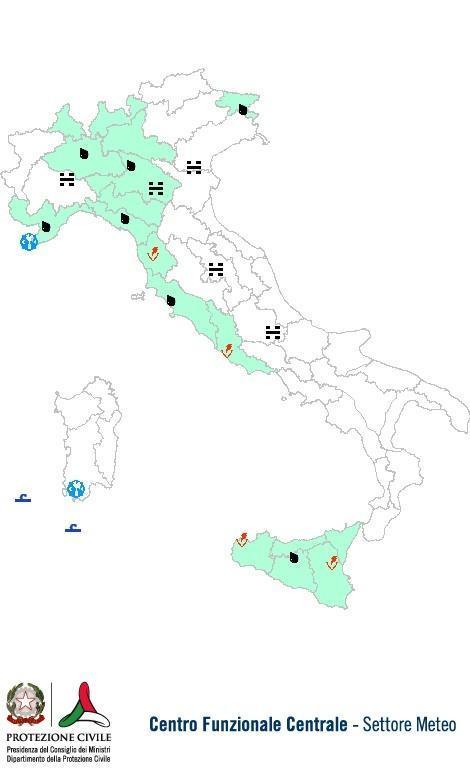 Previsioni meteo 25 Ottobre 2013 Italia: Bollettino della Protezione Civile. Fonte: www.protezionecivile.gov.it