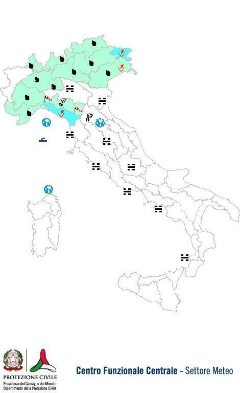 Previsioni meteo 28 Ottobre 2013 Italia: Bollettino della Protezione Civile. Fonte: www.protezionecivile.gov.it
