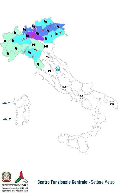 Previsioni meteo 29 Ottobre 2013 Italia: Bollettino della Protezione Civile. Fonte: www.protezionecivile.gov.it