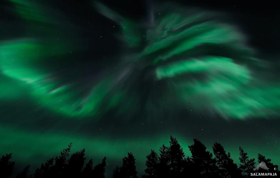 Aurora boreale catturata in Finlandia. Foto copyright Thomas Kast.