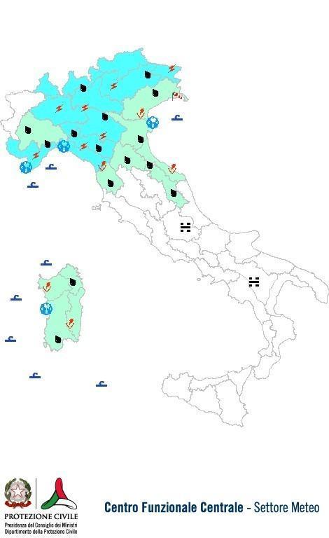 Previsioni meteo 30 Ottobre 2013 Italia: Bollettino della Protezione Civile. Fonte: www.protezionecivile.gov.it