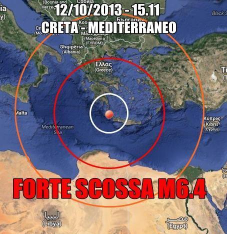 Terremoto Oggi Grecia-Creta - violenta scossa colpisce il Mediterraneo
