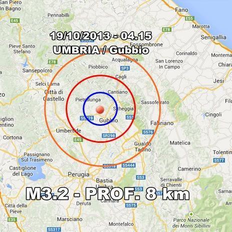 Terremoto Umbria Oggi : scossa moderata avvertita a Gubbio