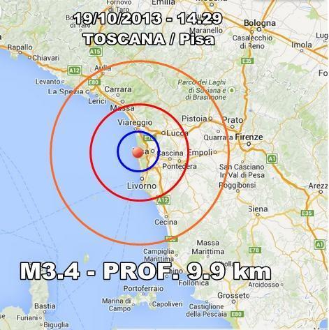 Terremoto Pisa Oggi : scossa avvertita nettamente dalla popolazione