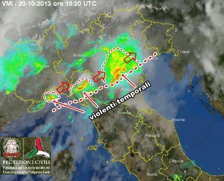 Maltempo Emilia Romagna : forti temporali stanno colpendo la regione