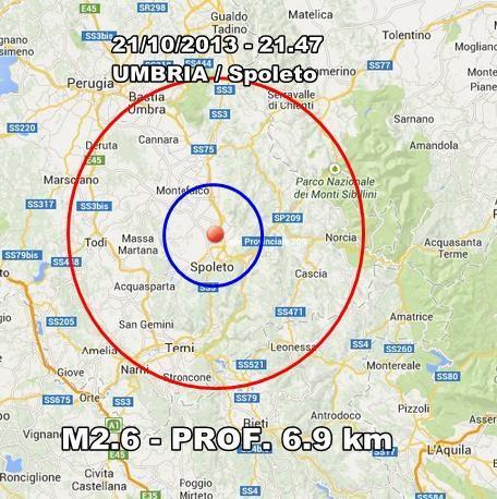 Terremoto Umbria Oggi : scossa avvertita nel perugino