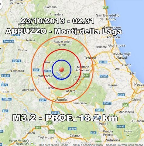 Terremoto Abruzzo Oggi : scossa avvertita a L'Aquila