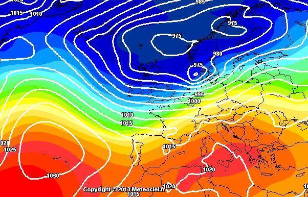 Vortice depressionario sull'Europa settentrionale - Mappe GFS