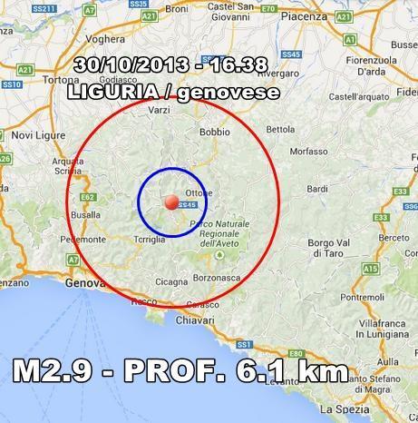 Terremoto Liguria Oggi : scossa avvertita nel genovese