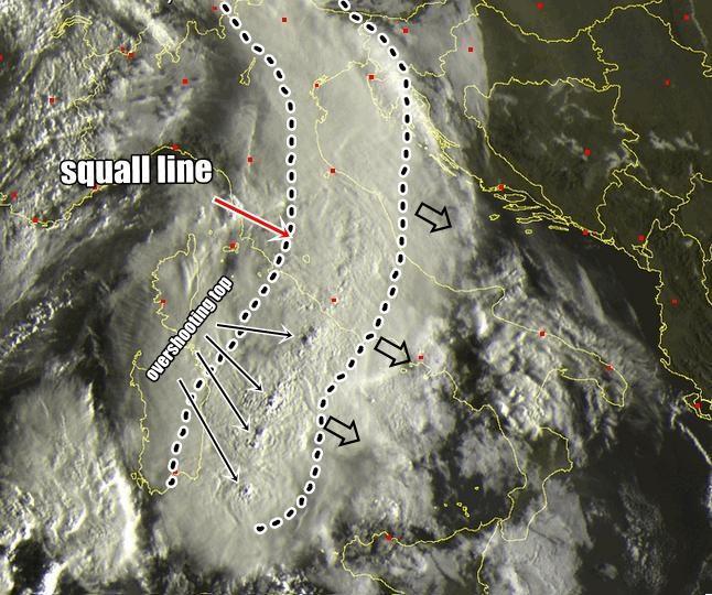 Maltempo : squall line in movimento sul Centro Italia