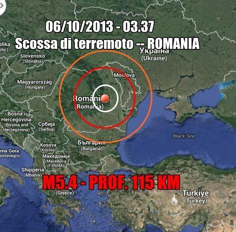 Terremoto Romania Oggi : scossa intensa nella notte