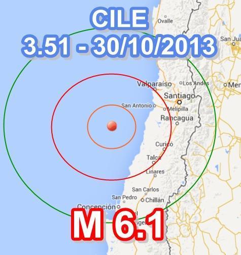 TERREMOTO CILE oggi: scossa magnitudo 6.1 in nottata