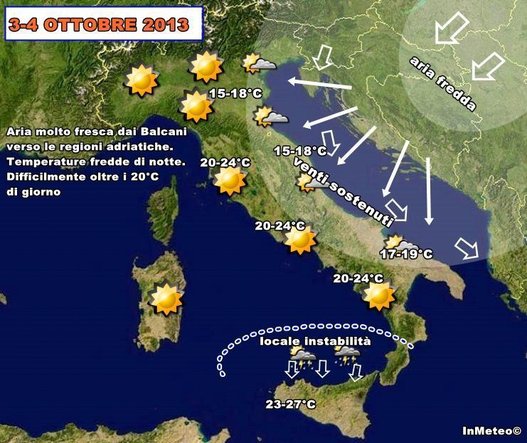 Previsioni Meteo : freddo dai Balcani in arrivo