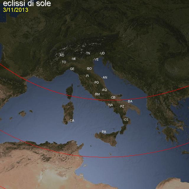 Eclissi di sole: visibile su Sardegna e Italia meridionale