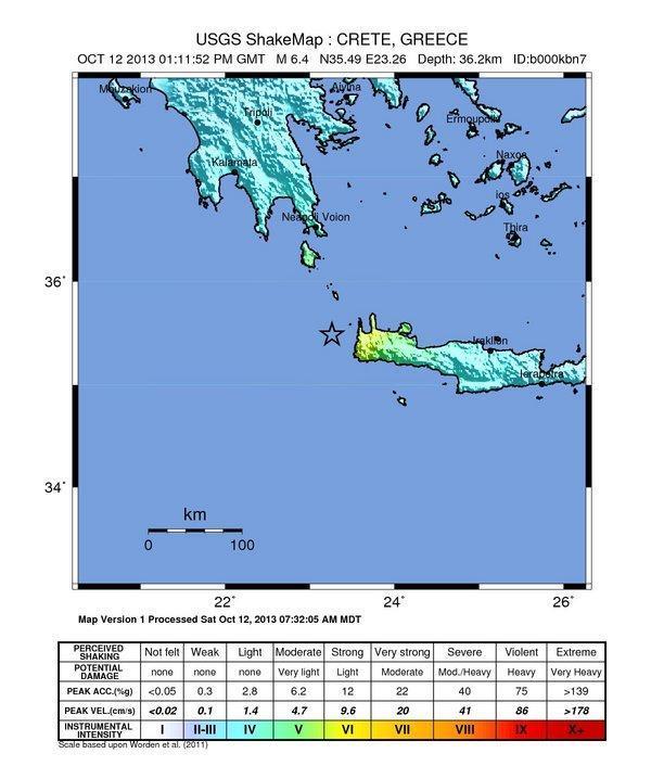 Violento terremoto Grecia 12 Ottobre 2013 _ ecco la shakemap