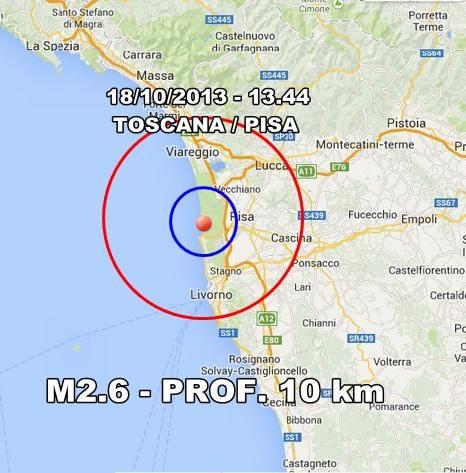 Terremoto Toscana oggi 18 Ottobre 2013