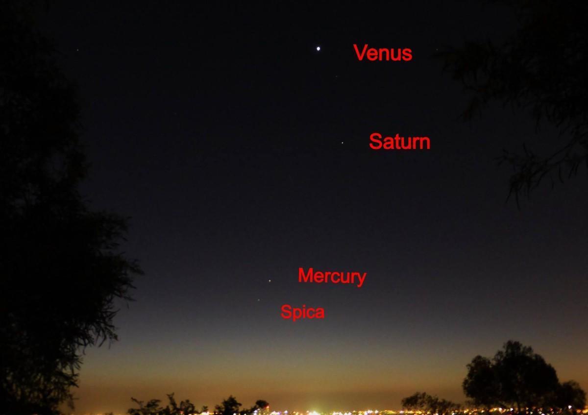 Ottobre 2013, guida ai pianeti visibili: stella Spica, Mercurio, Saturno e Venere.