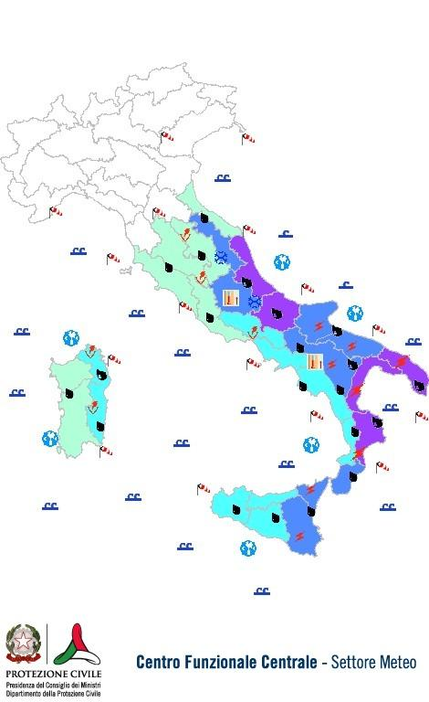 Previsioni meteo 1 Dicembre 2013 Italia: Bollettino della Protezione Civile. Fonte: www.protezionecivile.gov.it