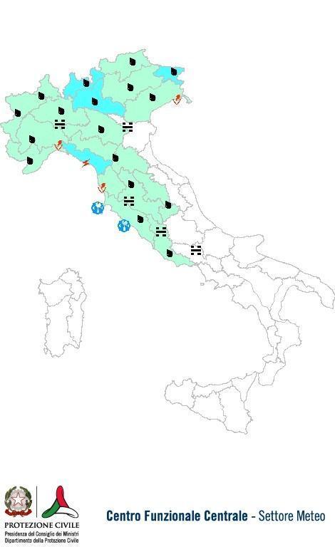 Previsioni meteo 8 Novembre 2013 Italia: Bollettino della Protezione Civile. Fonte: www.protezionecivile.gov.it