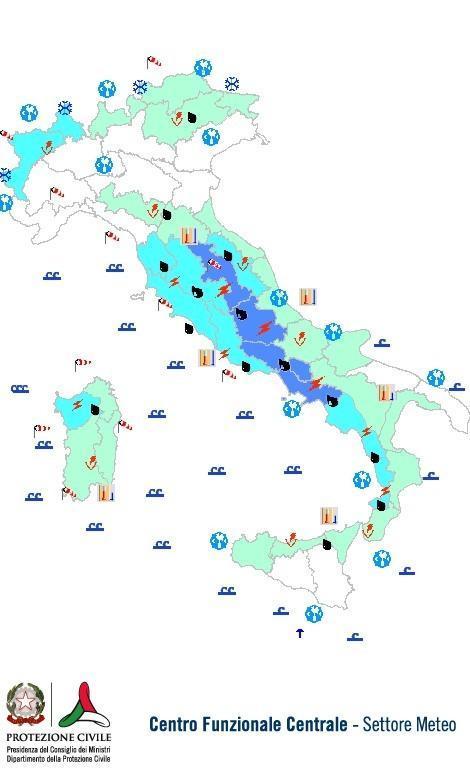 Previsioni meteo 10 Novembre 2013 Italia: Bollettino della Protezione Civile. Fonte: www.protezionecivile.gov.it