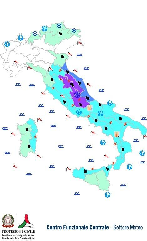 Previsioni meteo 11 Novembre 2013 Italia: Bollettino della Protezione Civile. Fonte: www.protezionecivile.gov.it
