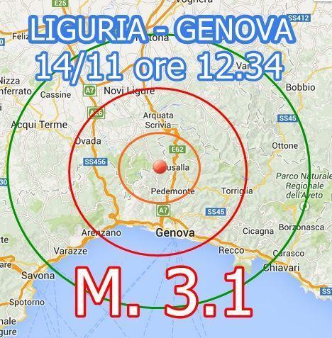 Terremoto Liguria Oggi : scossa avvertita a Genova