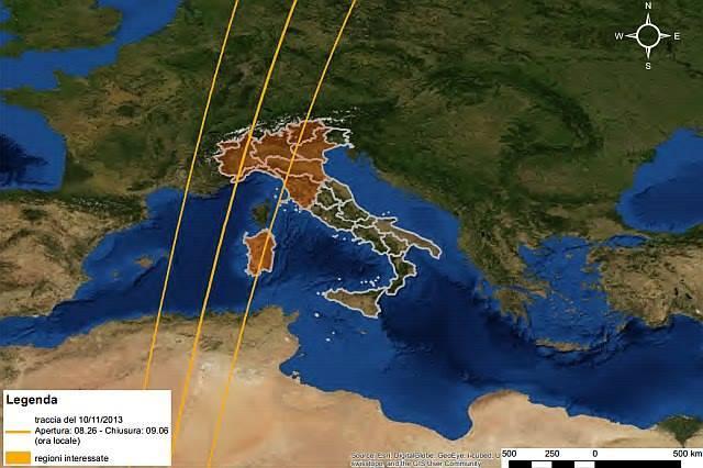 Caduta Satellite Goce : ecco le possibili zone interessate dai frammenti in caso di impatto fra le 8.26 alle 9.06 di Domenica mattina