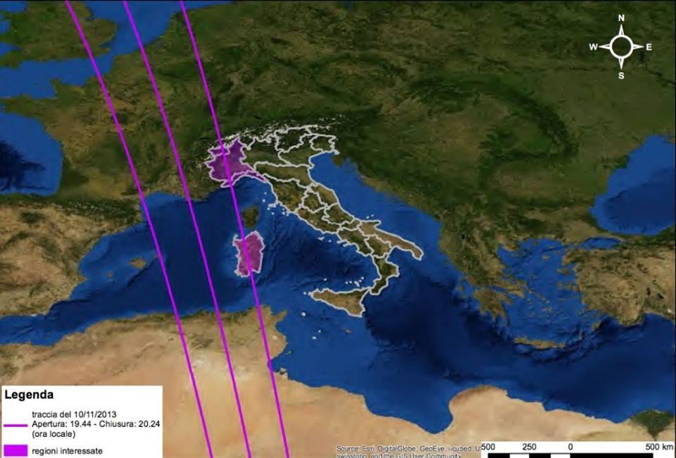 Caduta Satellite Goce : ecco le possibili zone interessate dai frammenti in caso di impatto fra le 19.44 alle 20.24 di Domenica sera