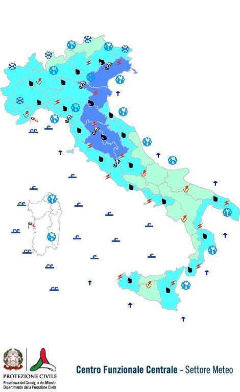 Previsioni meteo 15 Novembre 2013 Italia: Bollettino della Protezione Civile. Fonte: www.protezionecivile.gov.it