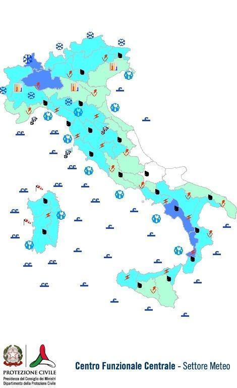 Previsioni meteo 21 Novembre 2013 Italia: Bollettino della Protezione Civile. Fonte: www.protezionecivile.gov.it