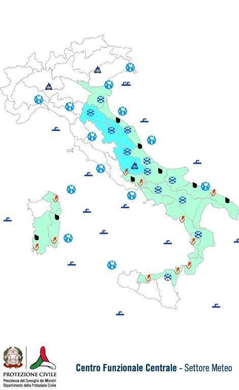 Previsioni meteo 27 Novembre 2013 Italia: Bollettino della Protezione Civile. Fonte: www.protezionecivile.gov.it