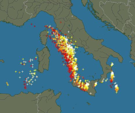 Radar - Fulmini prodotti dalla linea temporalesca