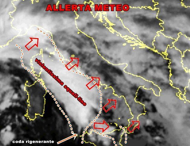 Allerta Meteo : imponente squall line in arrivo sulle regioni tirreniche