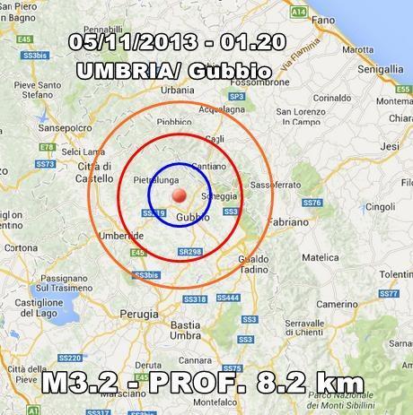 Terremoto Oggi Umbria : scossa avvertita chiaramente a Gubbio
