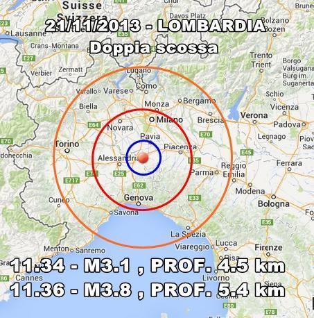 Terremoto Lombardia Oggi : due scosse distintamente avvertite