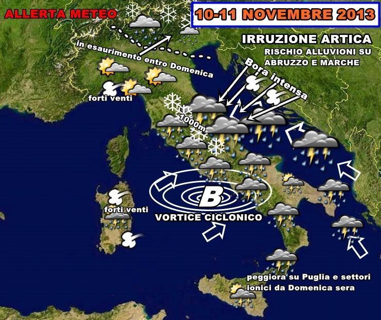 Allerta Meteo : forti piogge in arrivo sull'italia, venti forti e anche neve