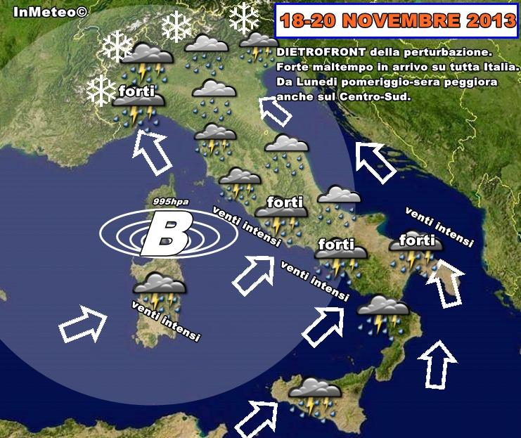 Cartina Meteorologica Dell Italia.Previsioni Meteo Dietrofront Della Saccatura Nei Prossimi Giorni Forte Maltempo Su Tutta Italia