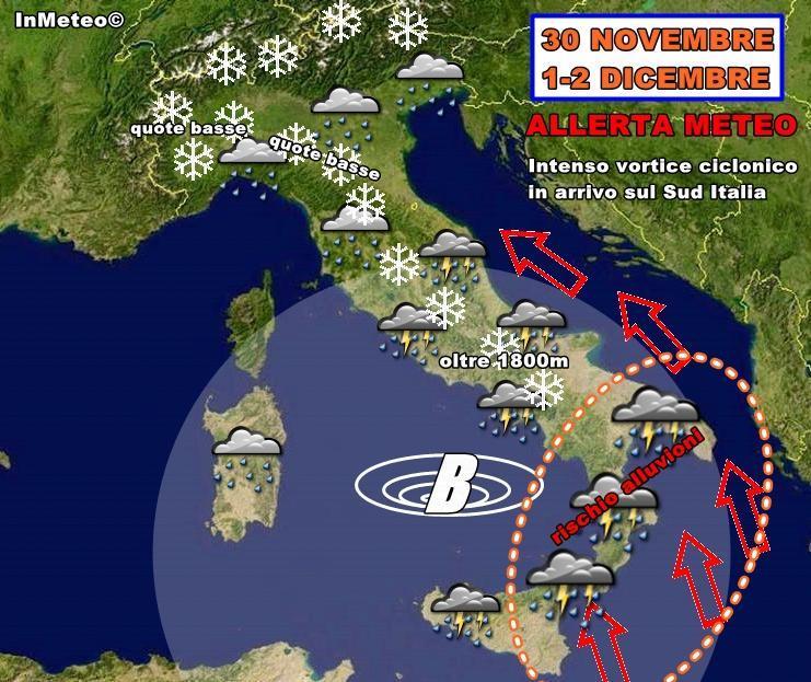 Allerta Meteo : intenso vortice ciclonico in arrivo